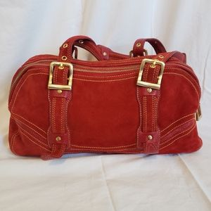 Red leather and suede Maxximum purse